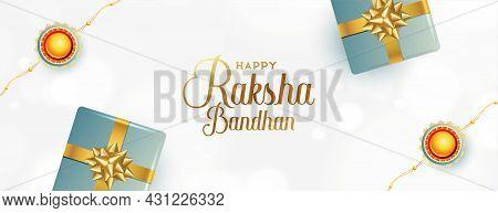 Elegant Raksha Bandhan Banner With Rakhi And Gift Boxes