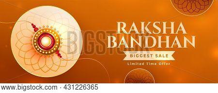 Nice Raksha Bandhan Sale Banner With Realistic Rakhi And Beautiful Colors
