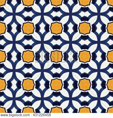 Seamless Illustrated Pattern Made Of Abstract Elements In White, Yellow And Shades Of Blue