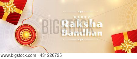 Lovely Raksha Bandhan Banner With Gifts And Rakhi Vector Design Illustration