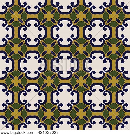 Seamless Illustrated Pattern Made Of Abstract Elements In Beige, Yellow, Green And Shades Of Blue