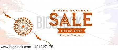 Raksha Bandhan Sale Banner With Hand Drawn Rakhi Vector Design Illustration