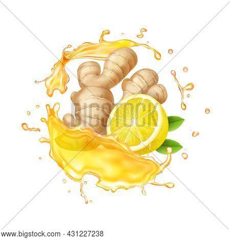 Ginger Root, Citrus And Yellow Tea Splash Illustration. Liquid Splashing Ginger Ale 3d Vector