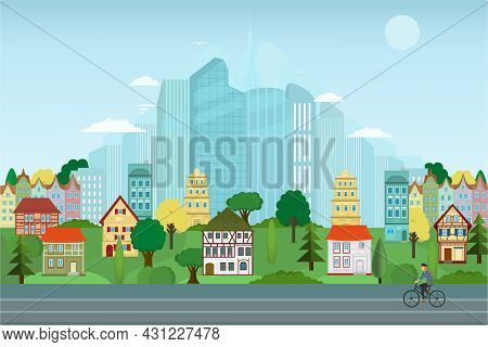 Vector Poster Overlooking The Metropolis With Park And Houses. Street View. Modern City With Skyscra