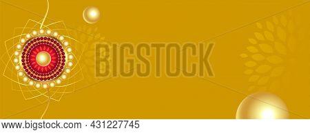 Raksha Bandhan Golden Banner With Text Space Vector Design Illustration
