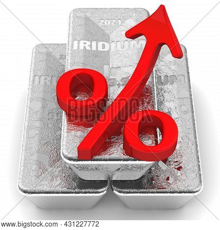 The Rise In The Value Of Iridium. There Are Three Ingots Of 999.9 Fine Iridium And One Red Percentag