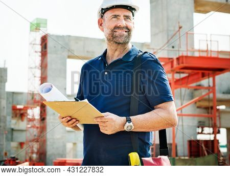 Site engineer on a construction site