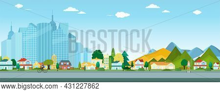 Vector Poster Overlooking The Metropolis With Trees And Houses. Street View. Modern City With Skyscr