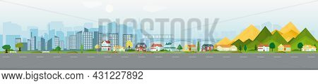 Vector Poster With Suburban Houses And Modern Skyscrapers. Street View. Panoramic View.