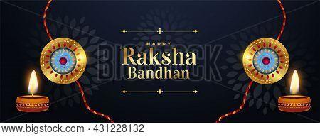 Happy Raksha Bandhan Brother And Sister Festival Banner Vector Design Illustration