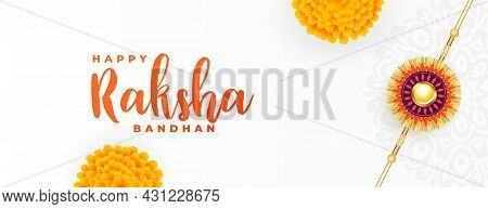 Raksha Bandhan White Banner With Rakhi And Flower Vector Design Illustration
