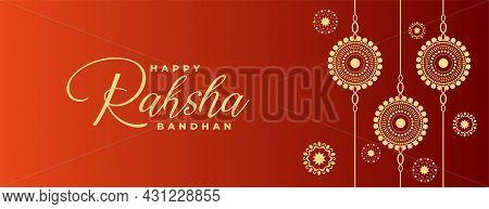 Traditional Raksha Bandhan Wishes Banner With Decorative Rakhi Design