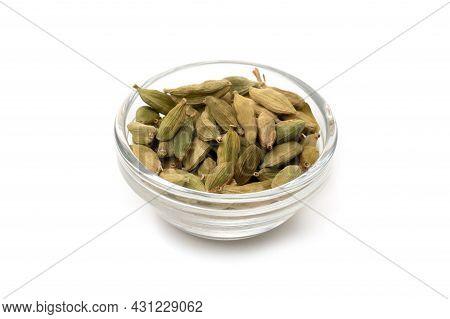 Pile Of Green Cardamom, Cardamon Or Cardamum (dried Fruits Of Elettaria Cardamomum)
