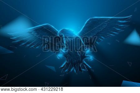 Bald Eagle Flying. Low Polygon Line, Triangles, And Particle Style Design. Abstract Geometric Wirefr