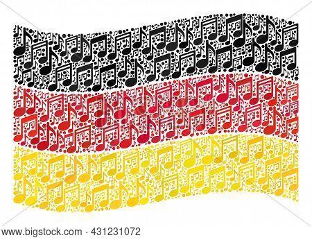 Mosaic Waving Germany Flag Designed Of Musical Signs. Vector Music Collage Waving Germany Flag Desig