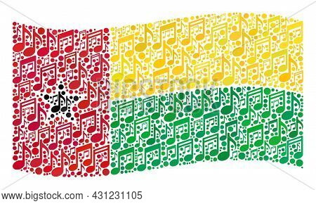 Mosaic Waving Guinea-bissau Flag Created With Melody Icons. Vector Melody Collage Waving Guinea-biss