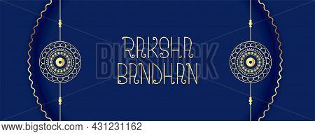 Elegant Raksha Bandhan Festival Banner With Golden Rakhi