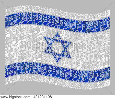 Mosaic Waving Israel Flag Designed With Melody Icons. Vector Music Collage Waving Israel Flag Design