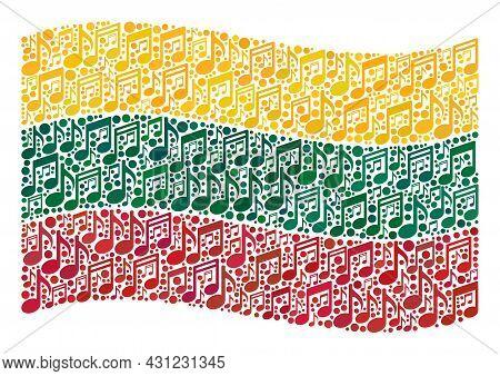 Mosaic Waving Lithuania Flag Designed Of Musical Icons. Vector Musical Mosaic Waving Lithuania Flag