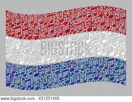 Mosaic Waving Netherlands Flag Constructed Of Melody Notation Symbols. Vector Melody Collage Waving
