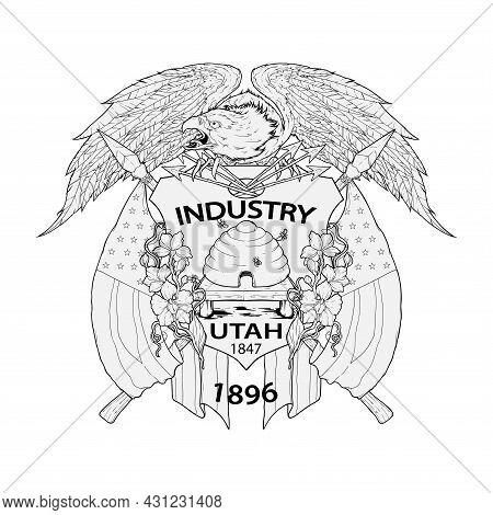 Hand Drawn Advanced Utah Flag Vector Illustration
