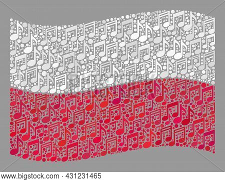 Mosaic Waving Poland Flag Constructed With Musical Notes. Vector Musical Mosaic Waving Poland Flag D