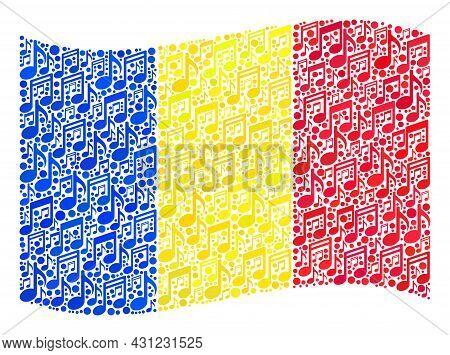 Mosaic Waving Romania Flag Created Of Melody Icons. Vector Melody Mosaic Waving Romania Flag Done Fo