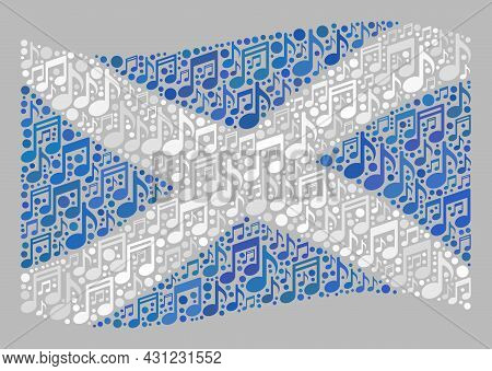 Mosaic Waving Scotland Flag Designed Of Music Notation Symbols. Vector Melody Collage Waving Scotlan