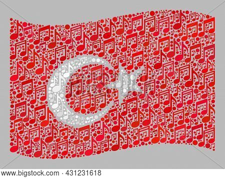 Mosaic Waving Turkey Flag Designed Of Melody Signs. Vector Musical Mosaic Waving Turkey Flag Designe