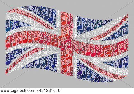 Mosaic Waving United Kingdom Flag Designed Of Melody Notes. Vector Melody Collage Waving United King