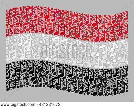 Mosaic Waving Yemen Flag Designed With Music Signs. Vector Melody Mosaic Waving Yemen Flag Designed