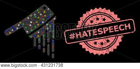 Glare Mesh Web Blood Butchery Knife With Flash Nodes, And Tag Hatespeech Scratched Rosette Stamp Sea