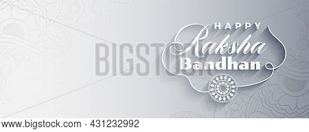 Happy Raksha Bandhan Gray Banner In Flat Style