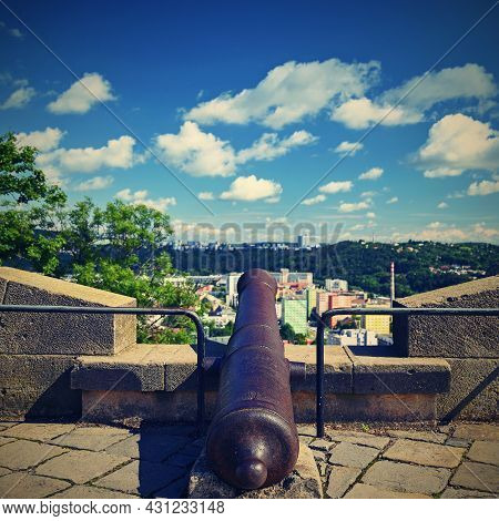 City Of Brno - Czech Republic - Europe. Beautiful Old Cannon Near Spilberk Castle Above The Town.
