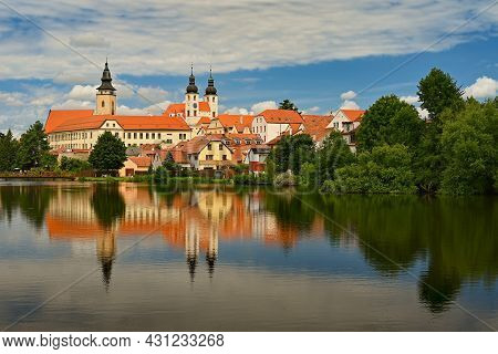 The Beautiful Czech Town Of Telc In Summer. Very Popular Tourist Place With Beautiful Old Architectu