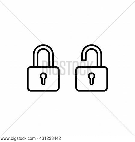 Set Of Simple Lock And Unlock Icon Illustration Design, Flat Lock And Unlock Symbol With Outlined St