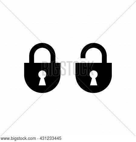 Set Of Simple Lock And Unlock Icon Illustration Design, Flat Lock And Unlock Symbol Template Vector