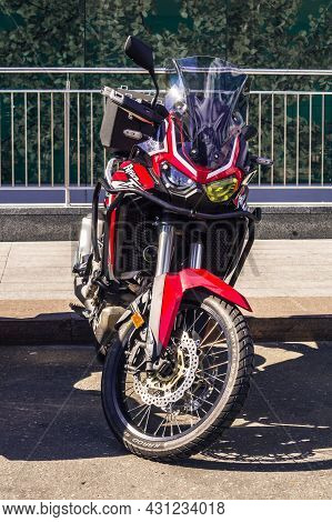 Motorcycle Honda Crf1100l With Dual-clutch Transmission Ion The City Parking. Front View Of Motorbik