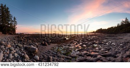 Panoramic View Of Botanical Beach On The West Coast Of Pacific Ocean. Summer Sunset. Canadian Nature