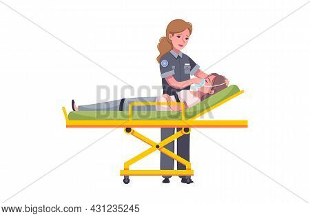 Emergency Paramedic Cartoon Icon With Female Doctor Helping Injured Woman Vector Illustration