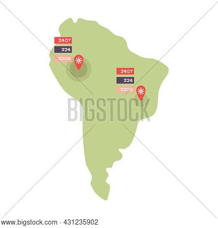 South America Flat Map With Confirmed Cases Of Coronavirus Cure Deaths Vector Illustration