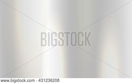 Silver Gradient Background. Chrome Metal Texture. Aluminium Vector Shine Plate