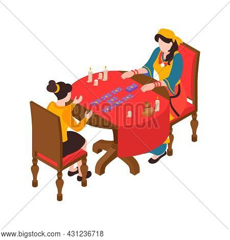 Isometric Composition With Gypsy Telling Fortune By Tarot Cards 3d Vector Illustration