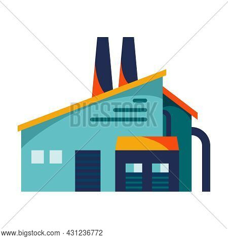 Flat Building Of Waste Processing Plant Sorting Factory Vector Illustration