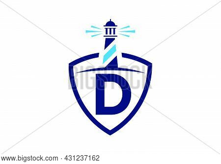 Initial D Monogram Alphabet In A Shield With The Lighthouse. Harbor Logo. Font Emblem. Modern Vector