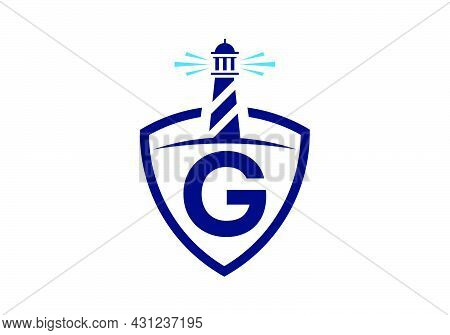 Initial G Monogram Alphabet In A Shield With The Lighthouse. Harbor Logo. Font Emblem. Modern Vector