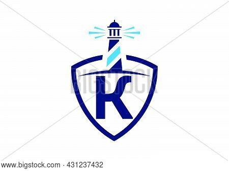 Initial K Monogram Alphabet In A Shield With The Lighthouse. Harbor Logo. Font Emblem. Modern Vector