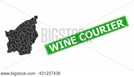 Grunge Wine Courier Badge, And San Marino Map Collage Of Airplane Icons. Green Rectangle Badge Inclu