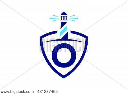 Initial O Monogram Alphabet In A Shield With The Lighthouse. Harbor Logo. Font Emblem. Modern Vector