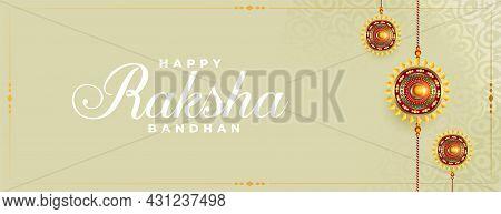 Raksha Bandhan Festival Banner With Realistic Rakhi Design